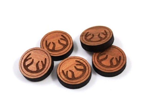 Laser Cut Supplies- 8 Pieces.Antler Charms -  Laser Cut Wood Antler -Earring Supplies- Little Laser Lab Sustainable Wood Products