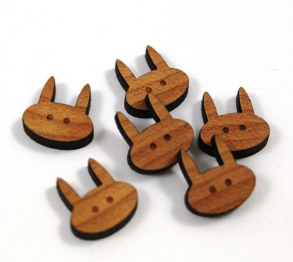 Laser Cut Supplies-8 Pieces.Bunny Head Charms - Laser Cut Wood Rabbit -Earring Supplies-  Little Laser Lab Sustainable Wood Products