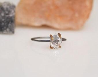 Modern mixed metal herkimer diamond ring