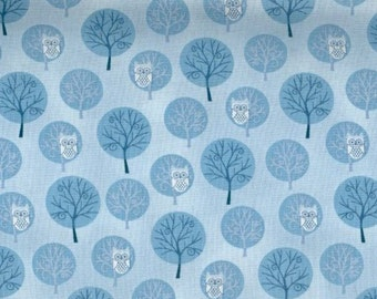 Winter Frost Owl fabric - owls in trees shades of blue - Henry Glass - YARD