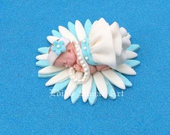 BABY SHOWER CAKE Topper Fondant ruffle  Tutu Cake Topper Fondant Cake Topper baby girl
