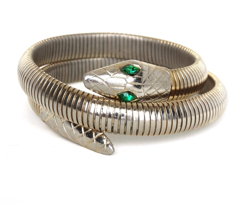 vintage snake bracelet arm cuff gold by