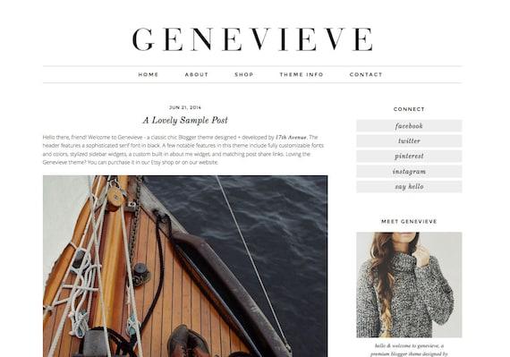 "Blogger Template Premade Blog Design - ""Genevieve"" Instant Digital Download, Black and Simple"