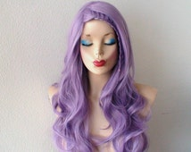 Pastel wig. Lavender wig. Pastel light purple  Long curly volume hair Durable Heat resistant synthetic wig for daily use or cosplay