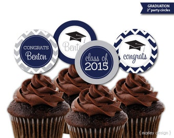 Printable Personalized Graduation Party Cupcake Toppers 2 Inch Party Circles DIY Choose Your Colors Chevron Digital PDF