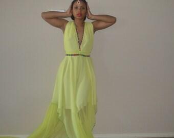 Limeade Chiffon Butterfly Hem Halter Dress