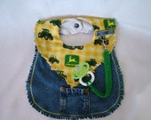 Repurposed Denim John Deere Bib with D Ring and Clasp Pacifier Holder and Front Pocket