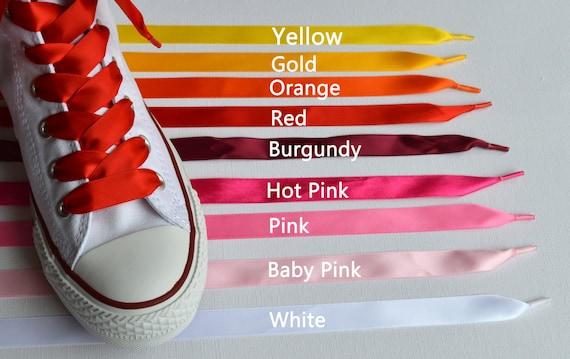 Lacets de chaussures en ruban satin pour les formateurs de - Lacet ruban pour chaussure ...