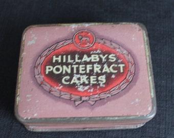 Vintage Pink Hillaby's Pontefract Cakes Advertising Tin