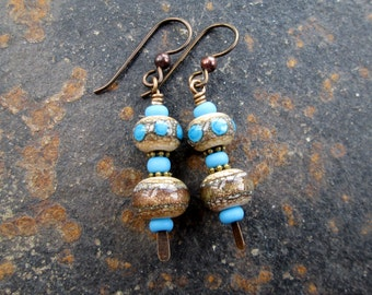 Turquoise and Sparkly Bronze Lampwork Dangle Earrings, Niobium, Artisan Jewelry, Earthy, Modern, beadenvy, hiddenfirepottery