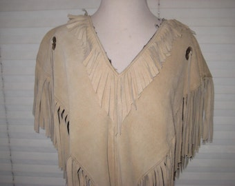 Fringed leather /suede poncho, boho chic poncho, bohemian hippie cape, Mexican poncho, size small to medium