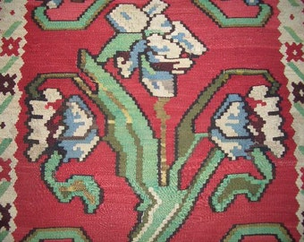 Antique Turkish Rug - 1940s Antique Flatweave Kelim Turkish Rug (2866)