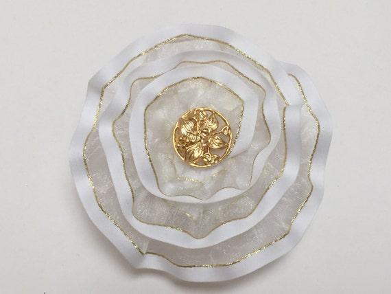 Feminine Kippah for Ladies, Shabbat Kippa, Gold and White Yarmulke