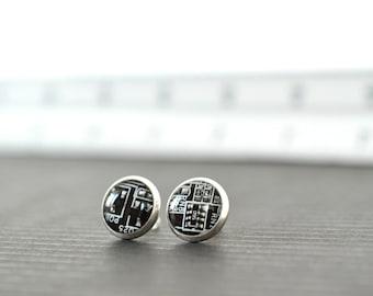 Tiny Black Geeky Stud Earrings Mens Geekery Computer Jewelry