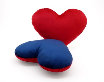 Red and Dark Blue Team Spirit Hug Heart Shaped Pillow 12x14 inches