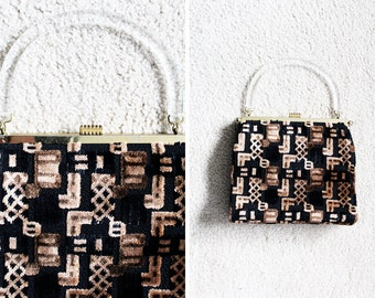 Vintage - Black & Brown Clear Handle Carpet Handbag Purse