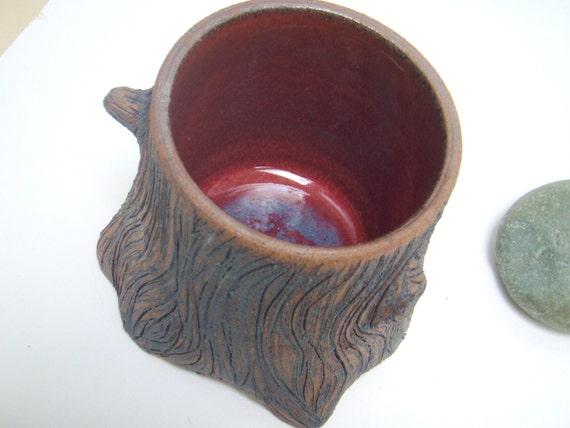Ceramic Tree Stump Utensil Holder Planter Vase By