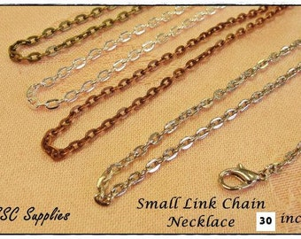 "20 Small Link Chain Necklace- 30"" - 2 x 3 Oval Link, Antique Brass Chain, Silver Chain, Antique Copper Chain, Antique Silver, Jewelry Chain"