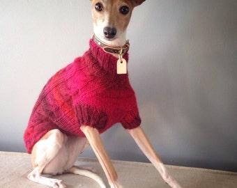Italian Greyhound Cabled Sweaters CUSTOM 53% wool blend handknit