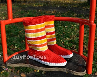 Crochet Boots HOT RED for the Street Outdoor Boots Spring Fashion 60s Boots Made to Order