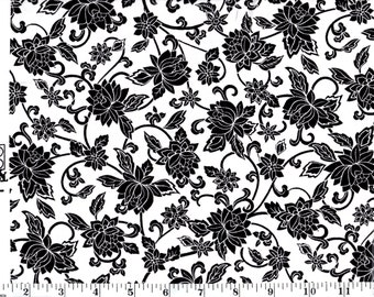 1 Yard, Black Flowers on White Cotton