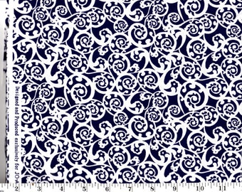 1 Yard 17 inches, White Scrolls on Navy Blue