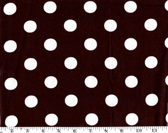1 Yard, Large White Dots on Brown