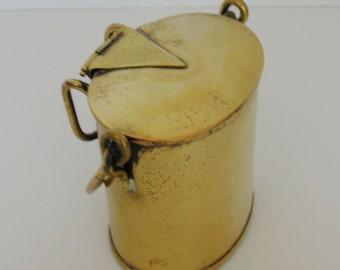 Antique English Brass Dairy Can Vesta Case, Match Safe