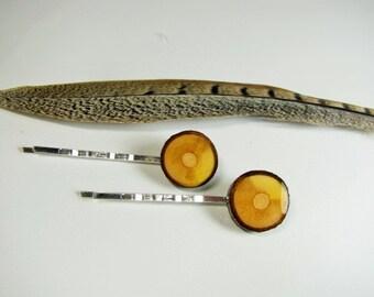 Chestnut wood bobby pins. Wood Tree slice hair pins.