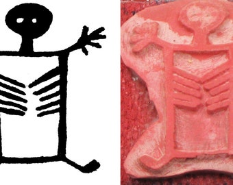 Shaman Design Stamping Tool for Polymer Ceramic PMC Clay - Textile Design - Petroglyph Rock Art Figure with Ribs - Southwest Design Stamp