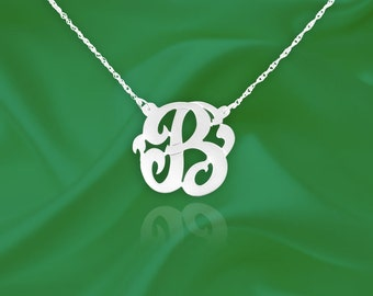 Initial Necklace  Sterling Silver Personalized Name Initial Necklace with Initial of Your Choice - Made in USA