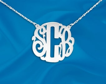 Monogram Necklace 1 inch Sterling Silver Personalized Initial Necklace - Made in USA