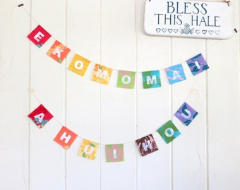 E KOMO MAI! Welcome Banner in Hawaii, Hawaiian greeting, Rainbow prayer flag