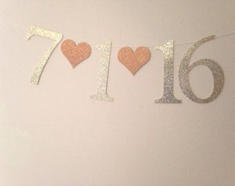 Save the Date Banner for Engagement Pictures, Bridal Shower Decorations, or Bachelorette Parties-Gold Glitter Letters