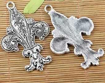 4pcs Tibetan silver beautiful fleur de lis charm pendants EF1346