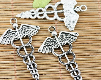8pcs tibetan silver color snake wing design pendant EF1448