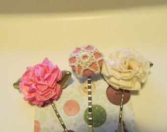 Pink and Cream Bobby Pins