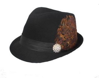 Black womens fedora with feathers