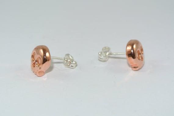 Skull Earrings Copper