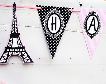 Paris Happy Birthday Banner,  Paris Banner, Parisian Birthday Party Banner P003