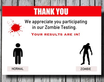 Set of 12+ Zombie Thank You Cards, Walking Dead Thank You Cards