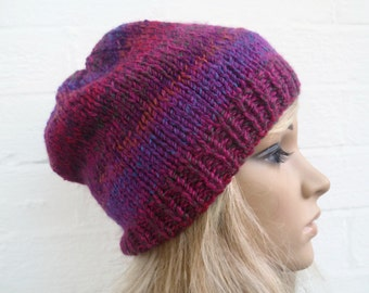 Sale Women Knitted Hat, Slouchy Beanie Hat, Hand Knitted Slouch Beanie Hat, Chunky Knit Acrylic, Oversized Beanie, Clickclackknits