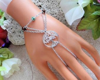 Tree of Life Slave bracelet, Hand Jewelry, Bracelet ring combo