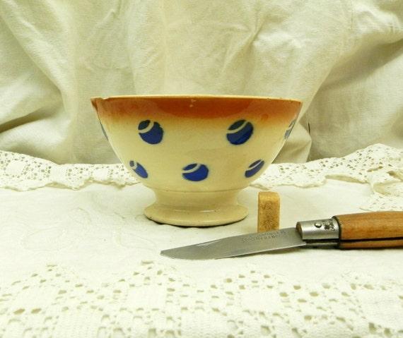 Chippy Antique Farmhouse Ceramic  K et G Luneville Café au Lait Bowl / Vintage French Country Decor  Coffee Bowl, Country Farmhouse Decor