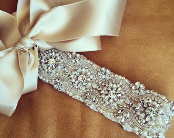 Rhinestone + Pearl Wedding Dress Sash - OHIO - Prom Sash