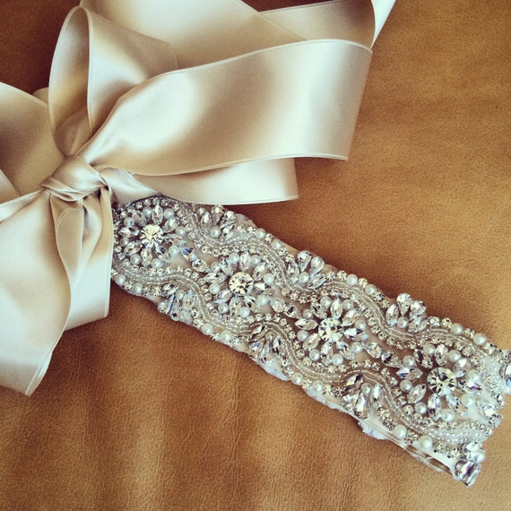 Rhinestone pearl wedding dress sash ohio for Rhinestone sashes for wedding dresses