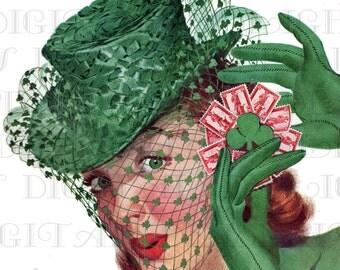 Irish Eyes Are Smiling--Underneath Her Hat!.  St. PATRICK'S Day Vintage Illustration.  DIGITAL St. Patrick's Day Download. Printable Image.