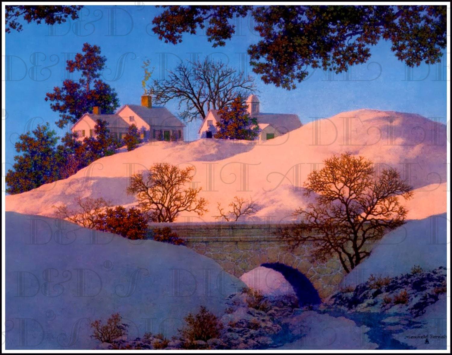 Maxfield parrish christmas snow covered landscape digital for Christmas landscape images