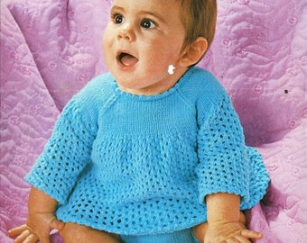knitting pattern for babies angel top and pants 16/20 in dk yarn