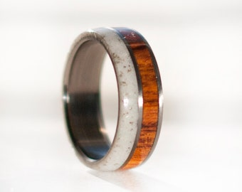Mens Wedding Band Wood and Antler Wedding Ring